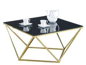 Τραπέζι Σαλονιού Willow Black-Gold 80X80X45 HM8613.02