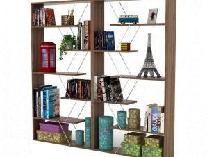 Βιβλιοθήκη Σετ 2Τμχ Tars HM11301.03 168x24x157cm Wallnut-Chrome