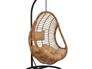 Πολυθρόνα Κρεμαστή Φωλιά Με Μαξιλάρια HM5541.01 Φ95Χ195Υcm Black-Beige