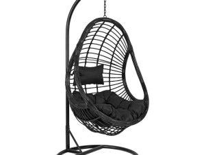 Πολυθρόνα Κρεμαστή Φωλιά Με Μαξιλάρια HM5541.02 Φ95Χ195Υcm Black