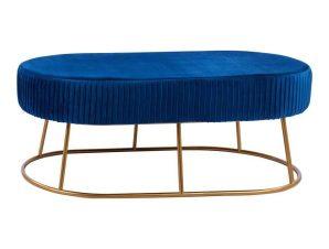 Σκαμπό-Παγκάκι Alinafe HM8635.08 118x64x40,5Υcm Blue-Gold