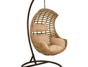 Πολυθρόνα Κρεμαστή Φωλιά Με Μαξιλάρι HM5753.01 Φ105x195cm Brown-Beige
