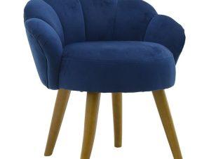 Σκαμπό Peacock Βελούδινο 3-50-104-0390 55Χ53Χ61 Blue Inart