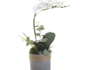 Διακοσμητικό Λουλούδι Σε Γλάστρα 3-85-246-0200 Υ45cm Green-White Inart Χαρτί