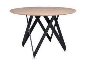 Τραπέζι Rod ΕΜ859 D.120cm H.75cm Black-Sonoma