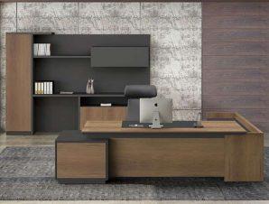 Γραφείο Αριστερή Γωνία Proline ΕΟ964,L 220×90/200×40 H.76cm Black-Walnut