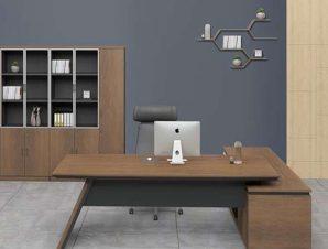 Γραφείο Αριστερή Γωνία Proline ΕΟ965,L 240×95/200×50 H.76cm Black-Walnut