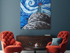 Πίνακας σε καμβά NIGHT LANDSCAPE WITH LIGHTHOUSE